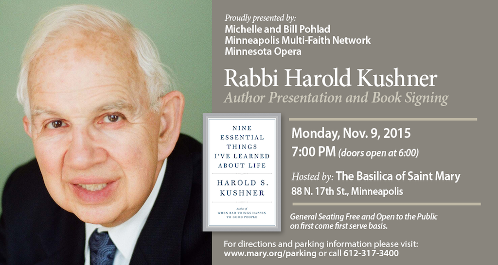 Rabbi Harold Kushner - Nov 9, 2015 - The Basilica of St.Mary